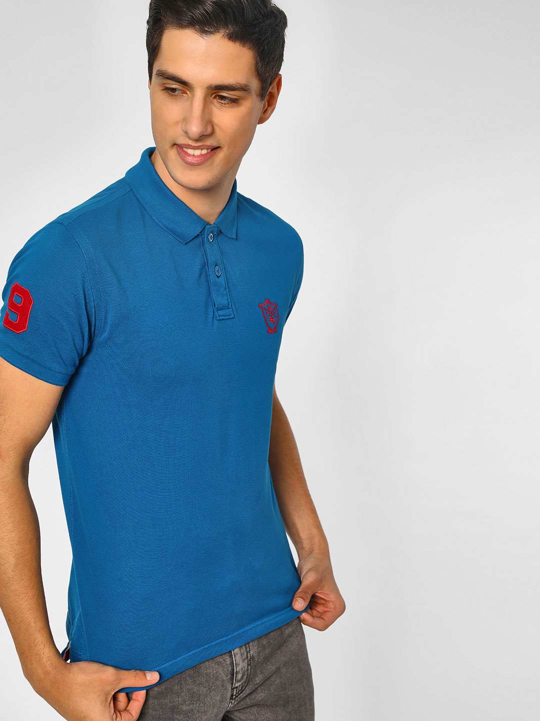 SCULLERS Blue Basic Polo T-Shirt 1