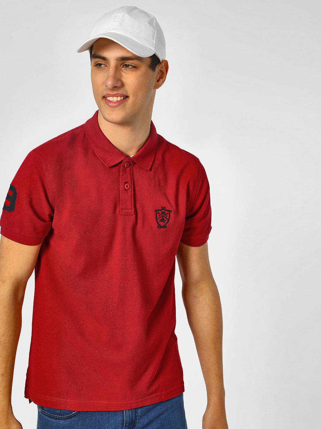 SCULLERS Red Basic Polo T-Shirt 1