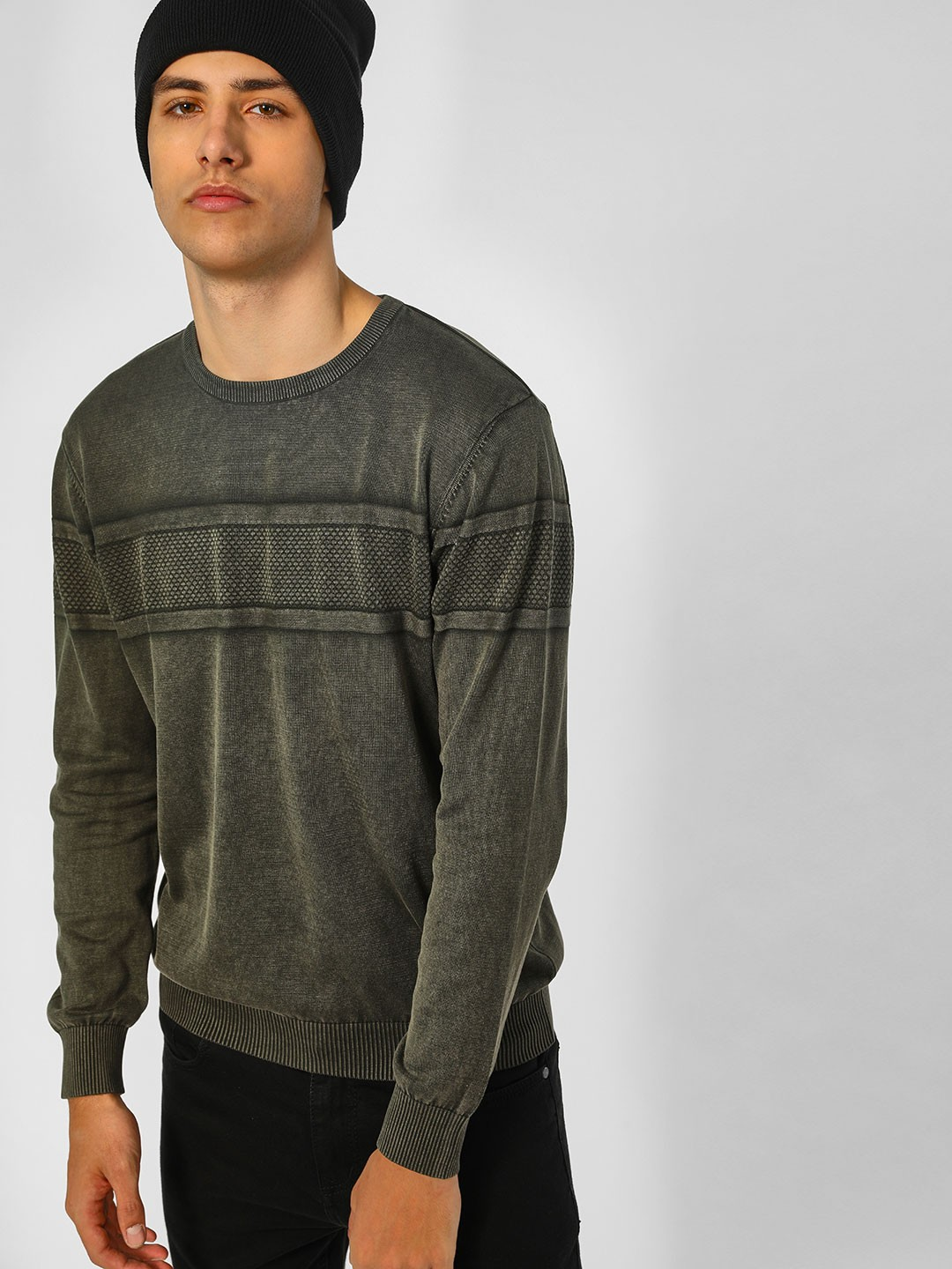 SCULLERS Olive Basic Ribbed Pullover 1