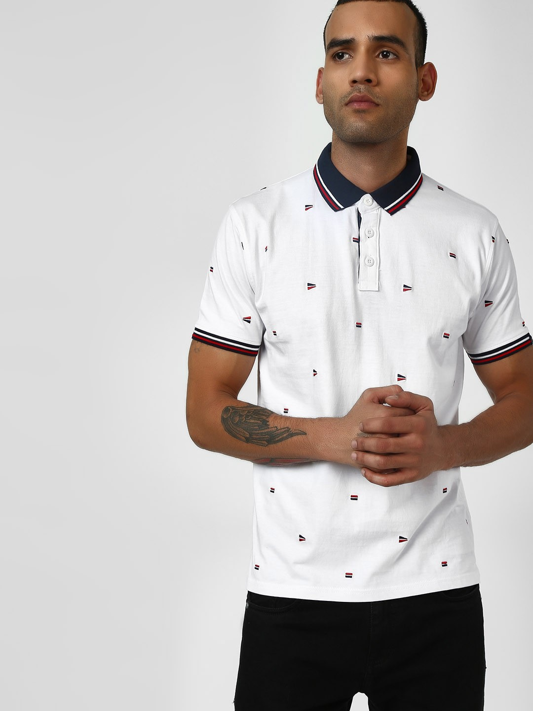 SCULLERS White All Over Print Polo T-Shirt 1