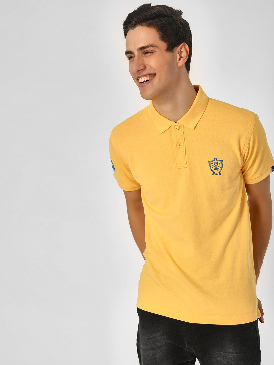 SCULLERS Yellow Basic Polo T-Shirt With Knit Detail 1