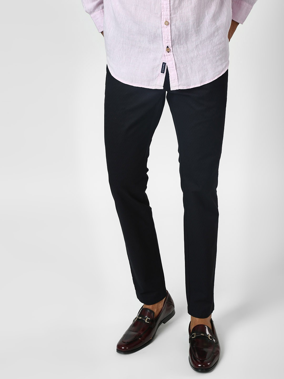SCULLERS Navy Basic Slim Trousers 1
