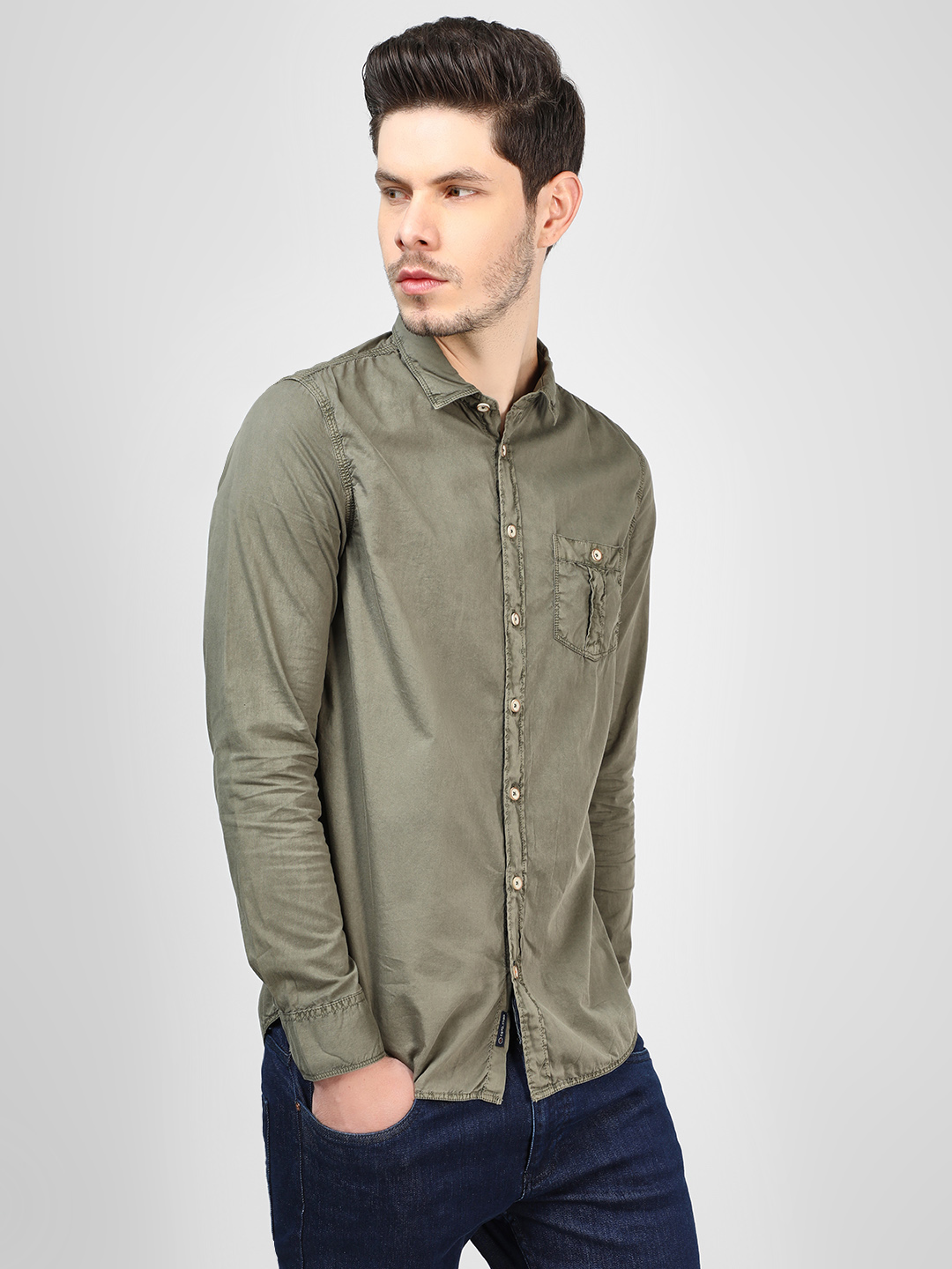 SCULLERS Olive Over Dyed Casual Shirt 1