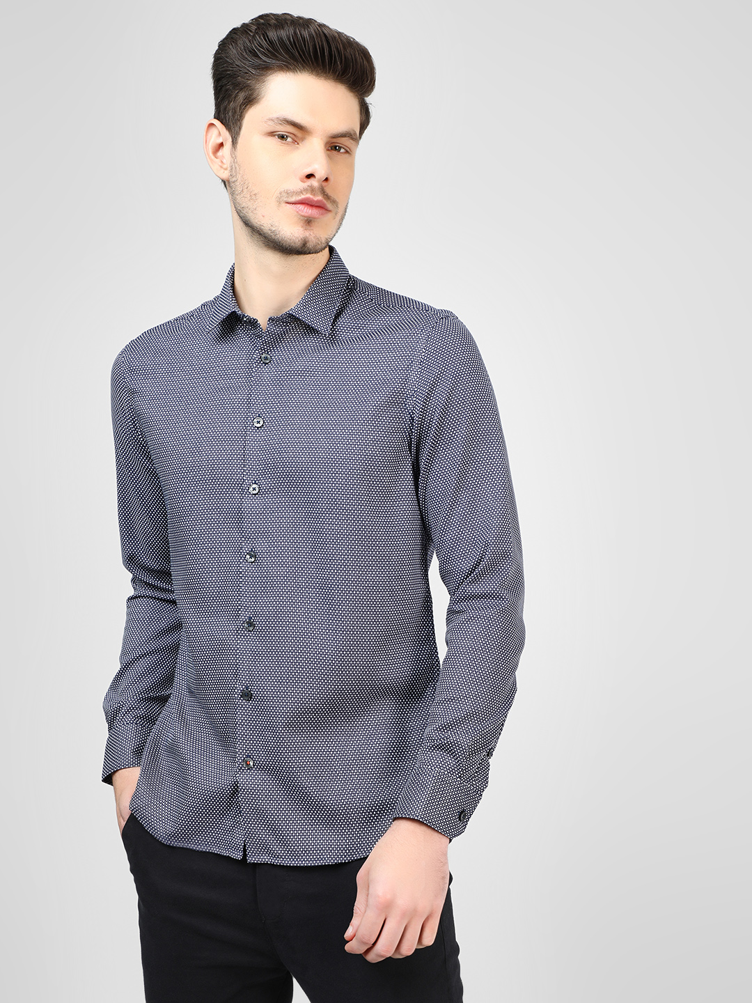SCULLERS Navy Pin Dot Casual Shirt 1
