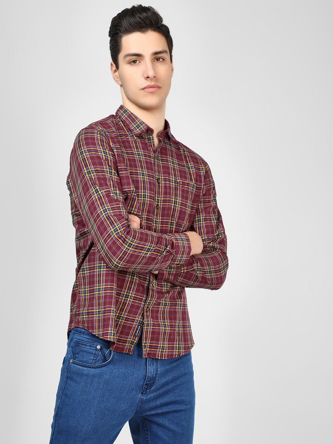 SCULLERS Brown Check Long Sleeve Shirt 1