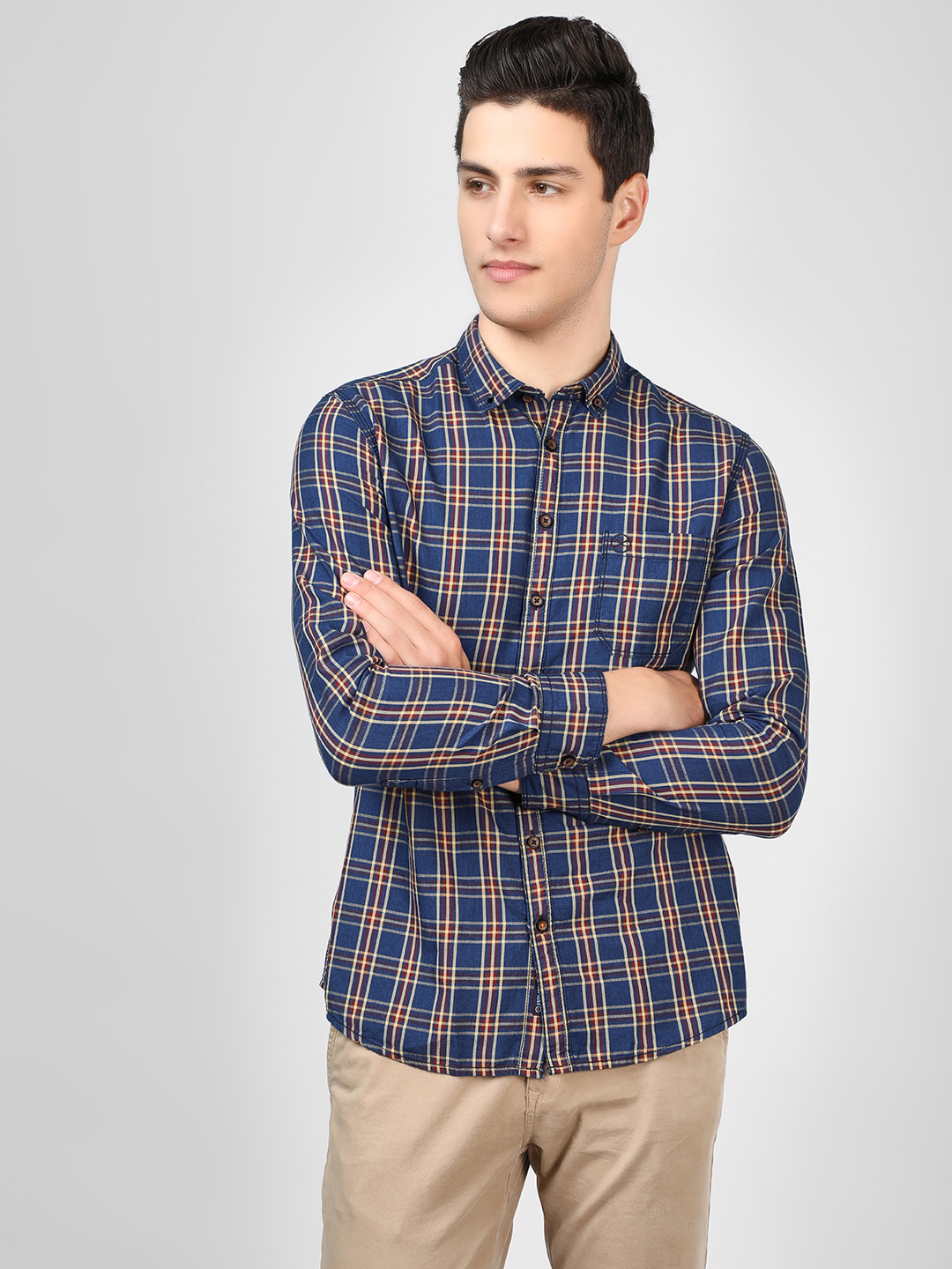 SCULLERS Navy Check Long Sleeve Shirt 1