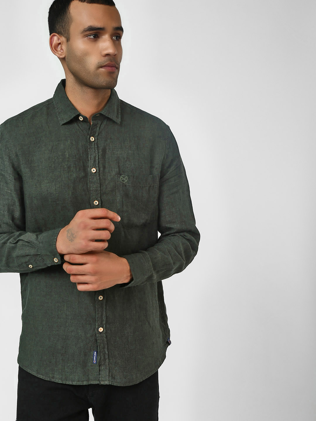 SCULLERS Olive Basic Long Sleeve Shirt 1