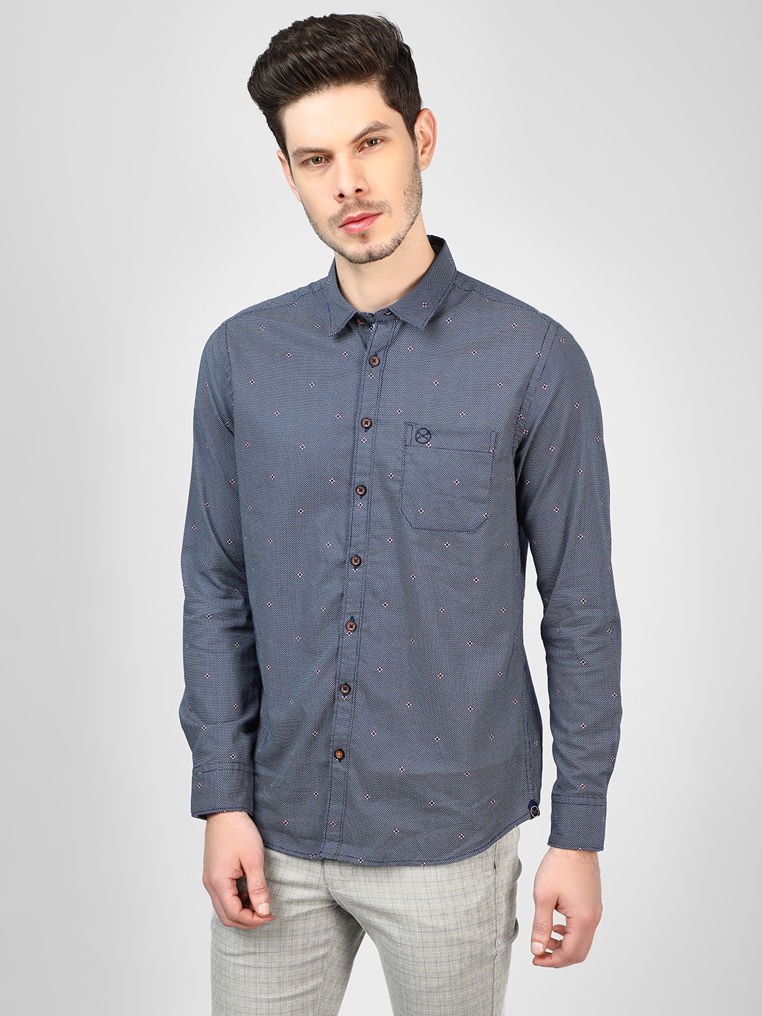 SCULLERS Navy All Over Print Oxford Shirt 1