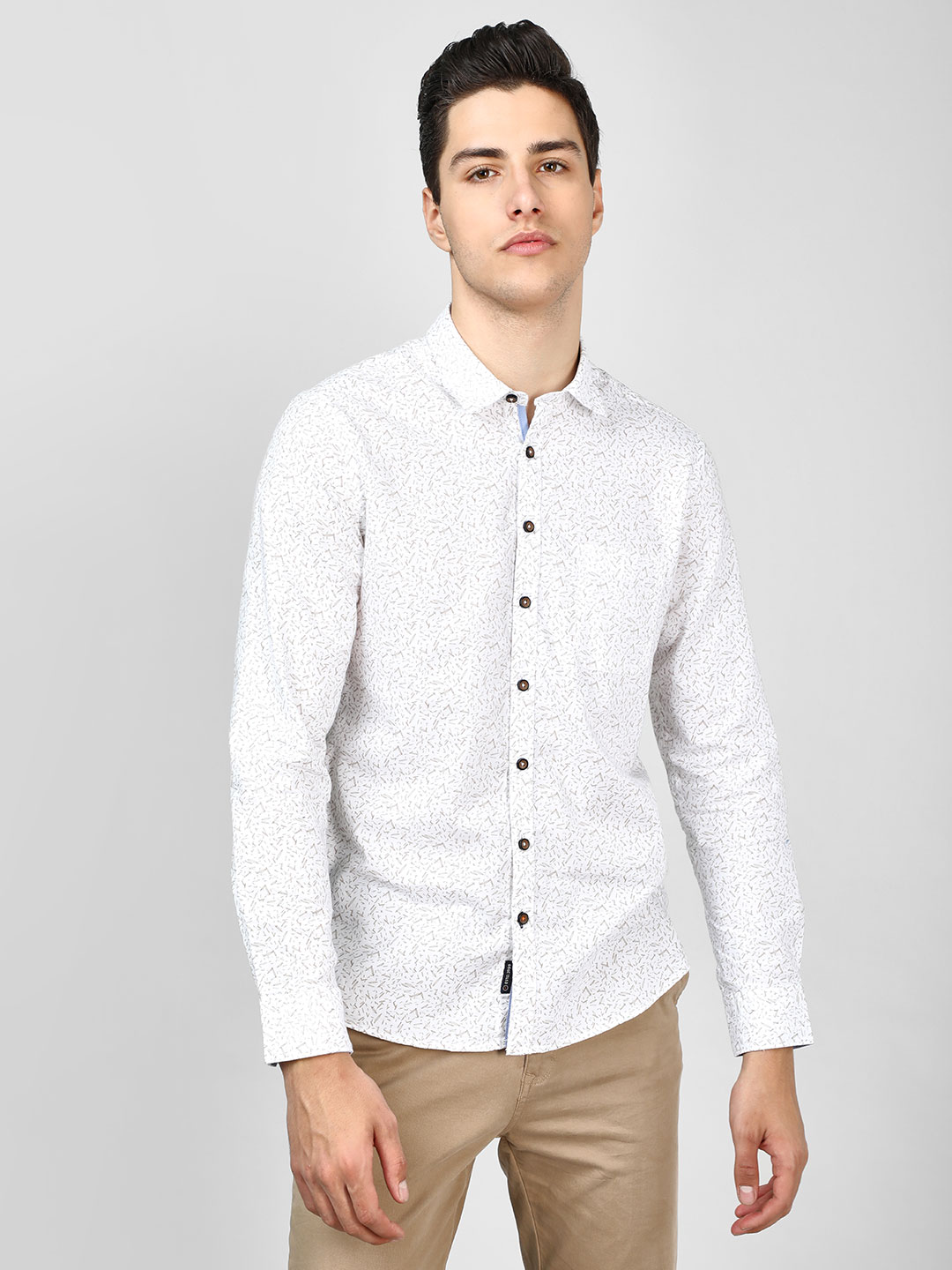 SCULLERS White All Over Print Oxford Shirt 1