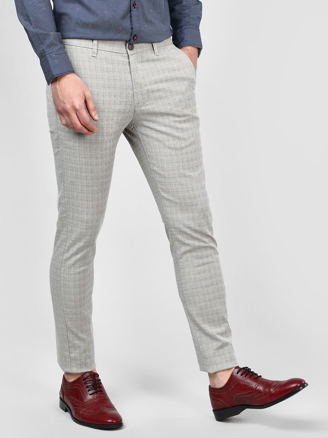 SCULLERS Grey Yarn Dyed Checkered Trousers 1