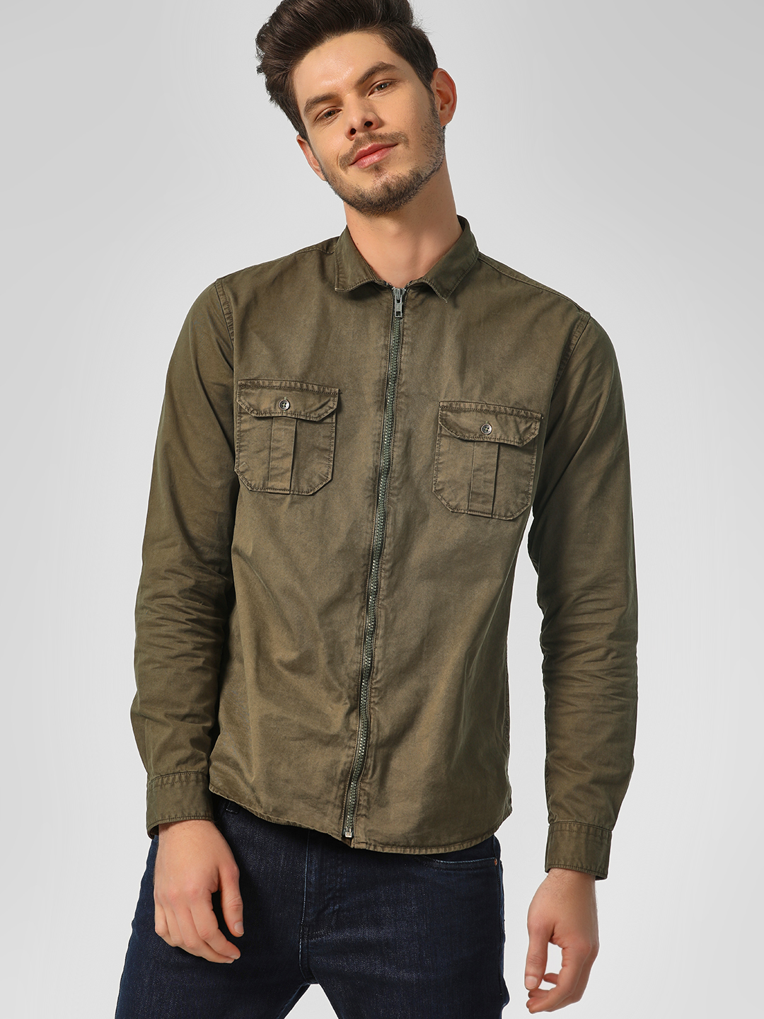 RIG Olive Zippered Front Shacket 1