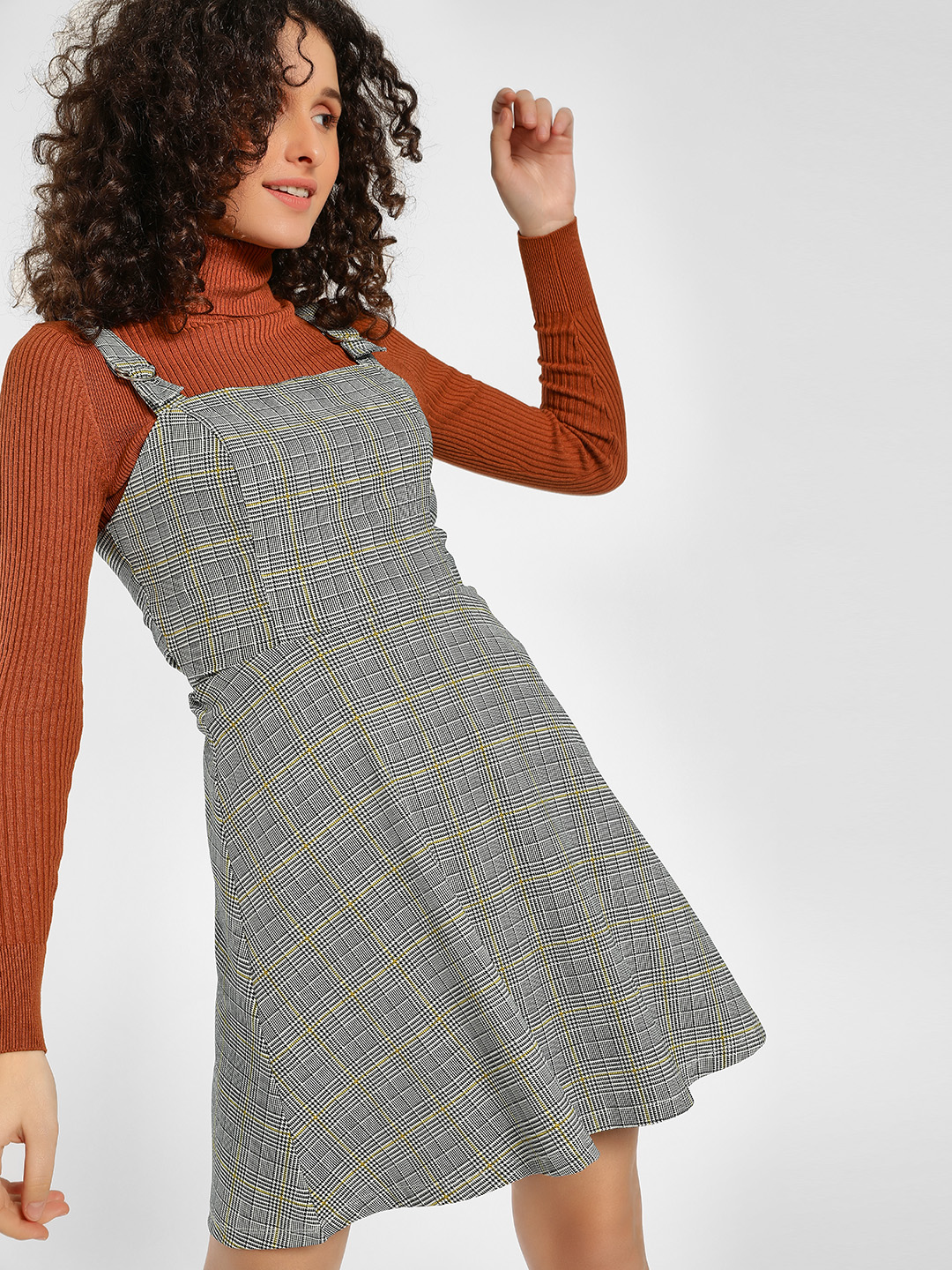 KOOVS Multi Checkered Pinafore Skater Dress 1