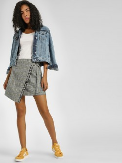 KOOVS Wrap Over Skirt With Printed Tape