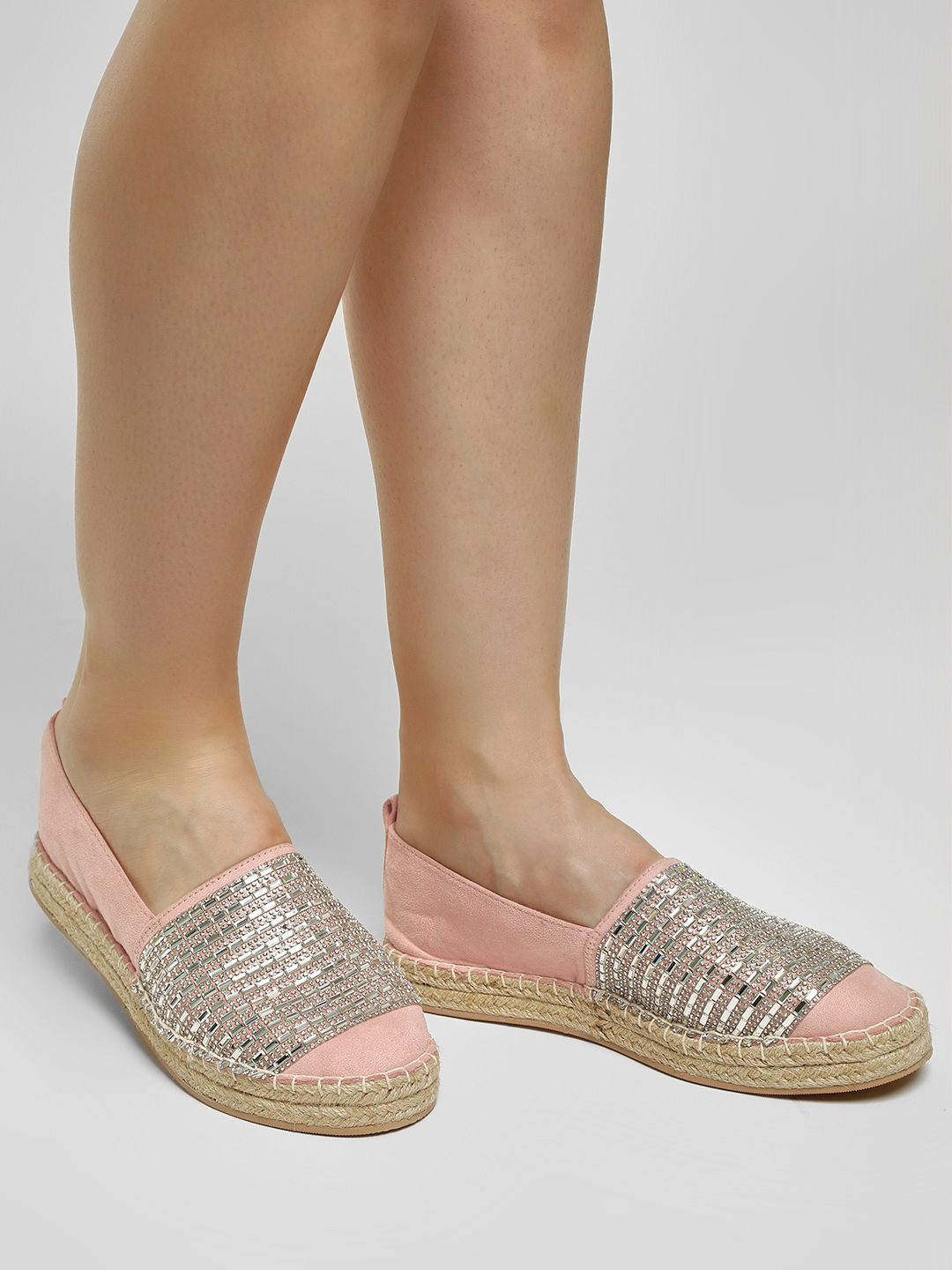 KOOVS Blush Diamante Embellished Stacked Espadrilles 1