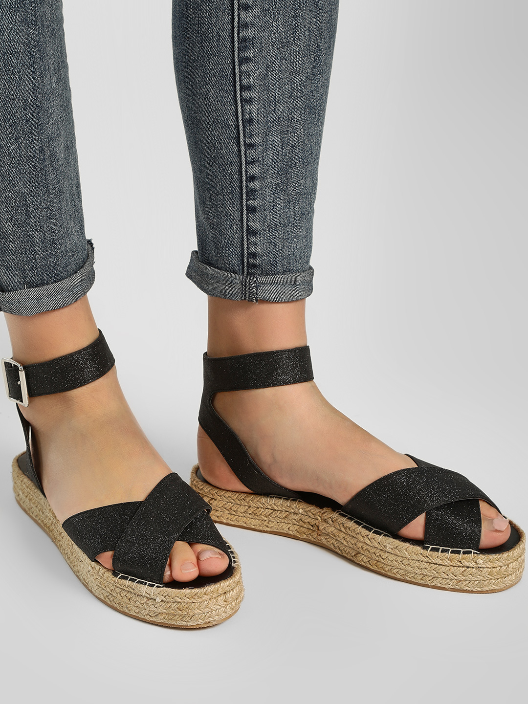KOOVS Black Ankle Strap Flat Sandals 1
