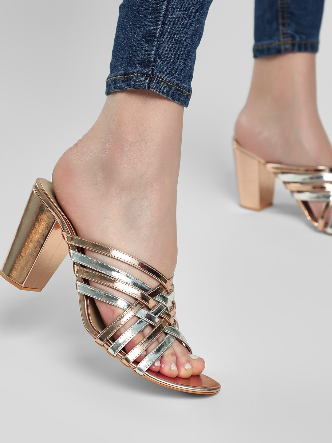 KOOVS Multi Gladiator Metallic Block Heeled Sandals 1