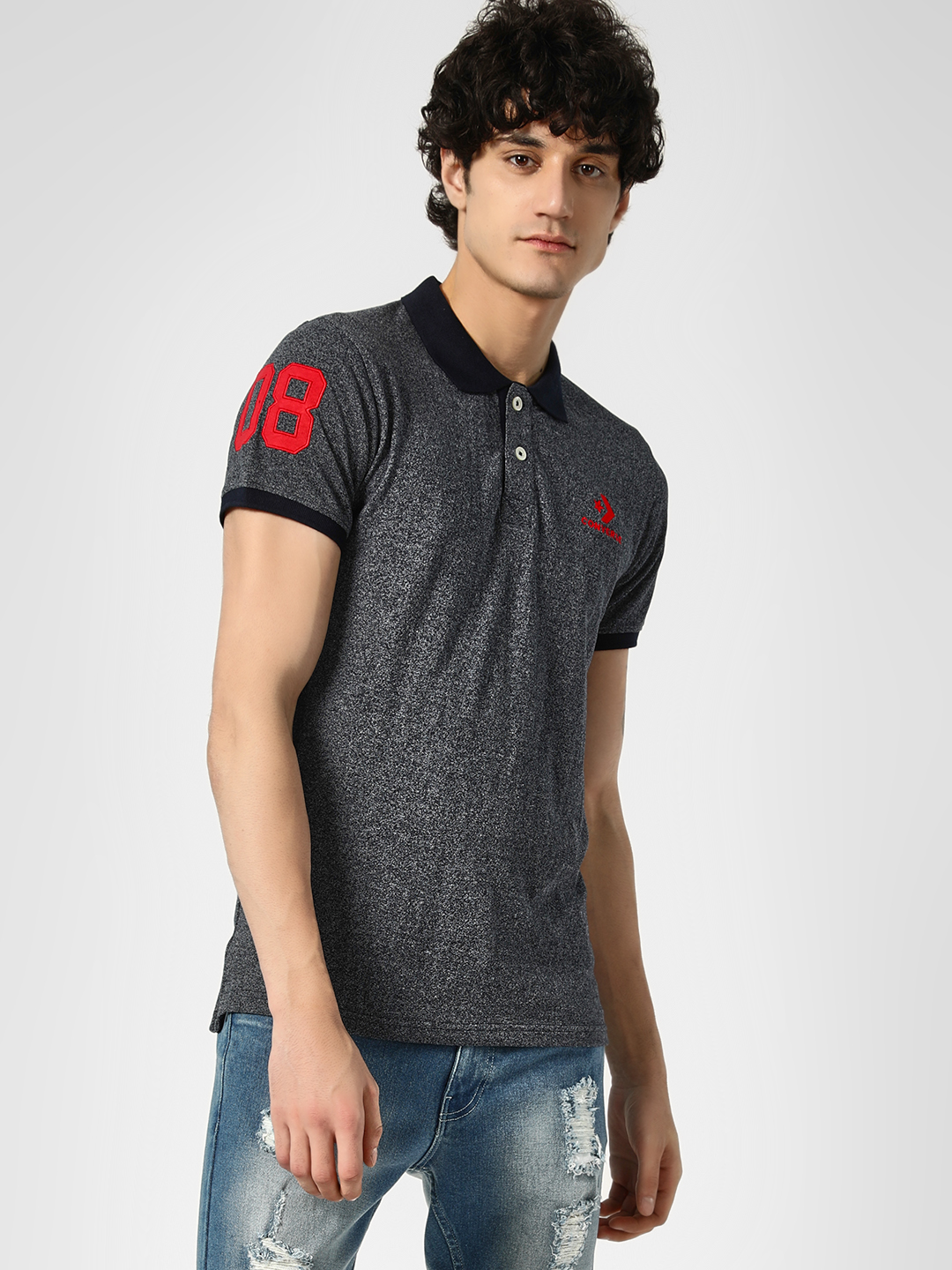 Converse Navy All Over Print Polo Shirt 1