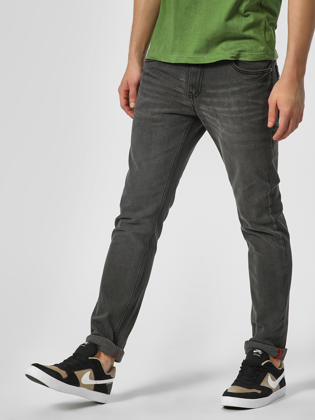 Indigo Nation Grey Basic Slim Fit Jeans 1
