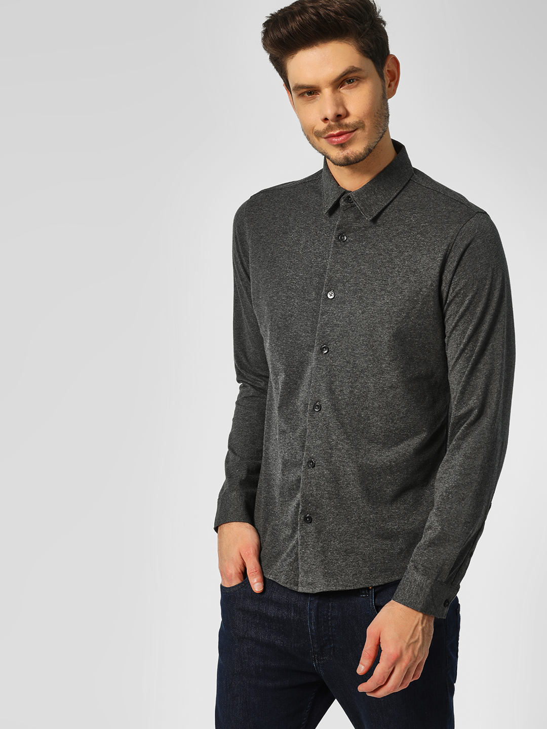 Indigo Nation Grey Melange Slim Fit Knitted Shirt 1