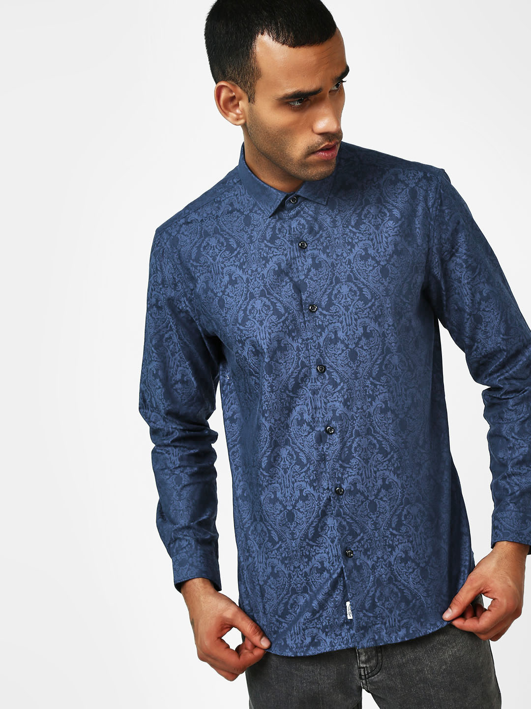 Indigo Nation Blue Self-Design Casual Shirt 1