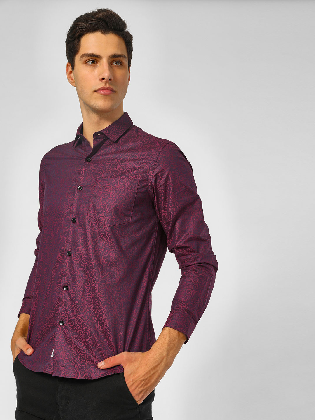 Indigo Nation Purple Printed Smart Casual Shirt 1