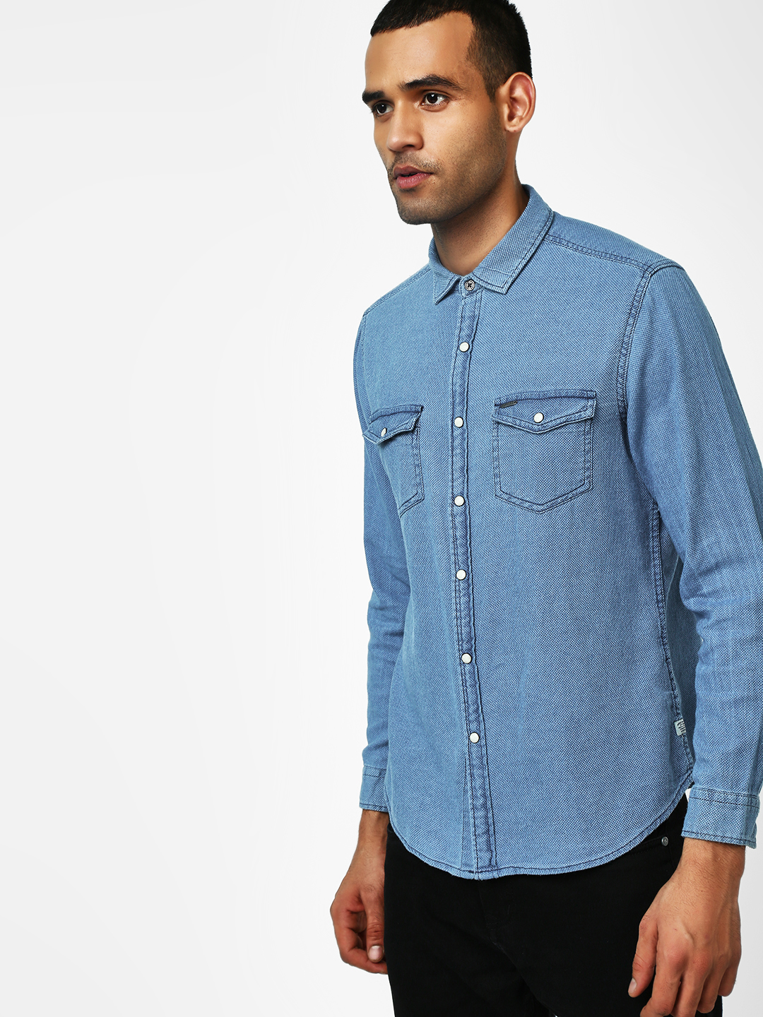 Indigo Nation Blue Long Sleeve Woven Casual Shirt 1