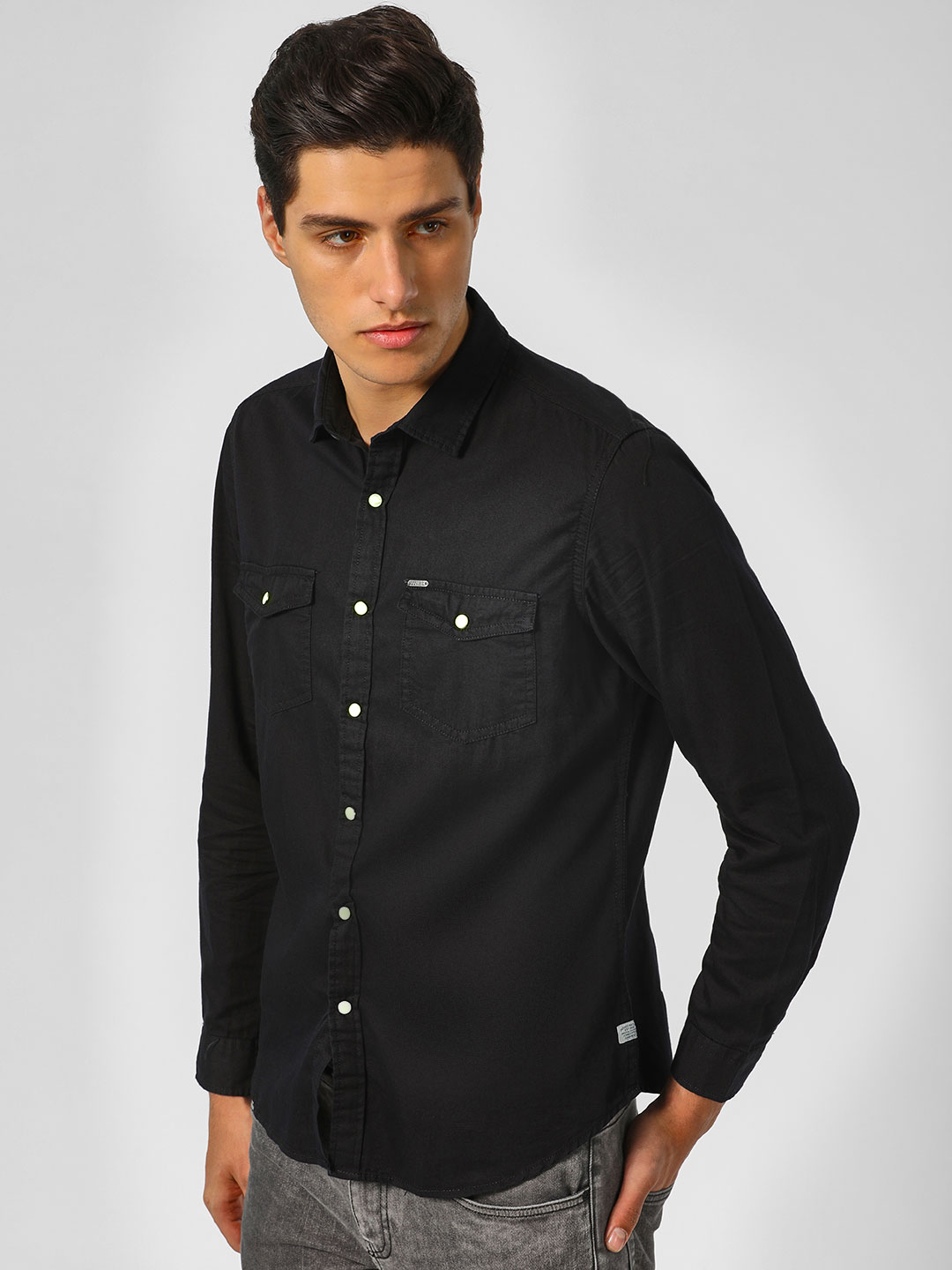 Indigo Nation Black Regular Shirt With Contrast Snap Button 1