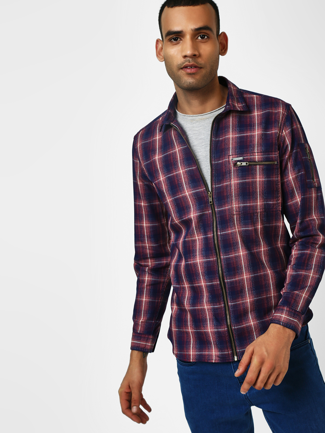 Indigo Nation Navy Multi-Check Zippered Casual Shirt 1