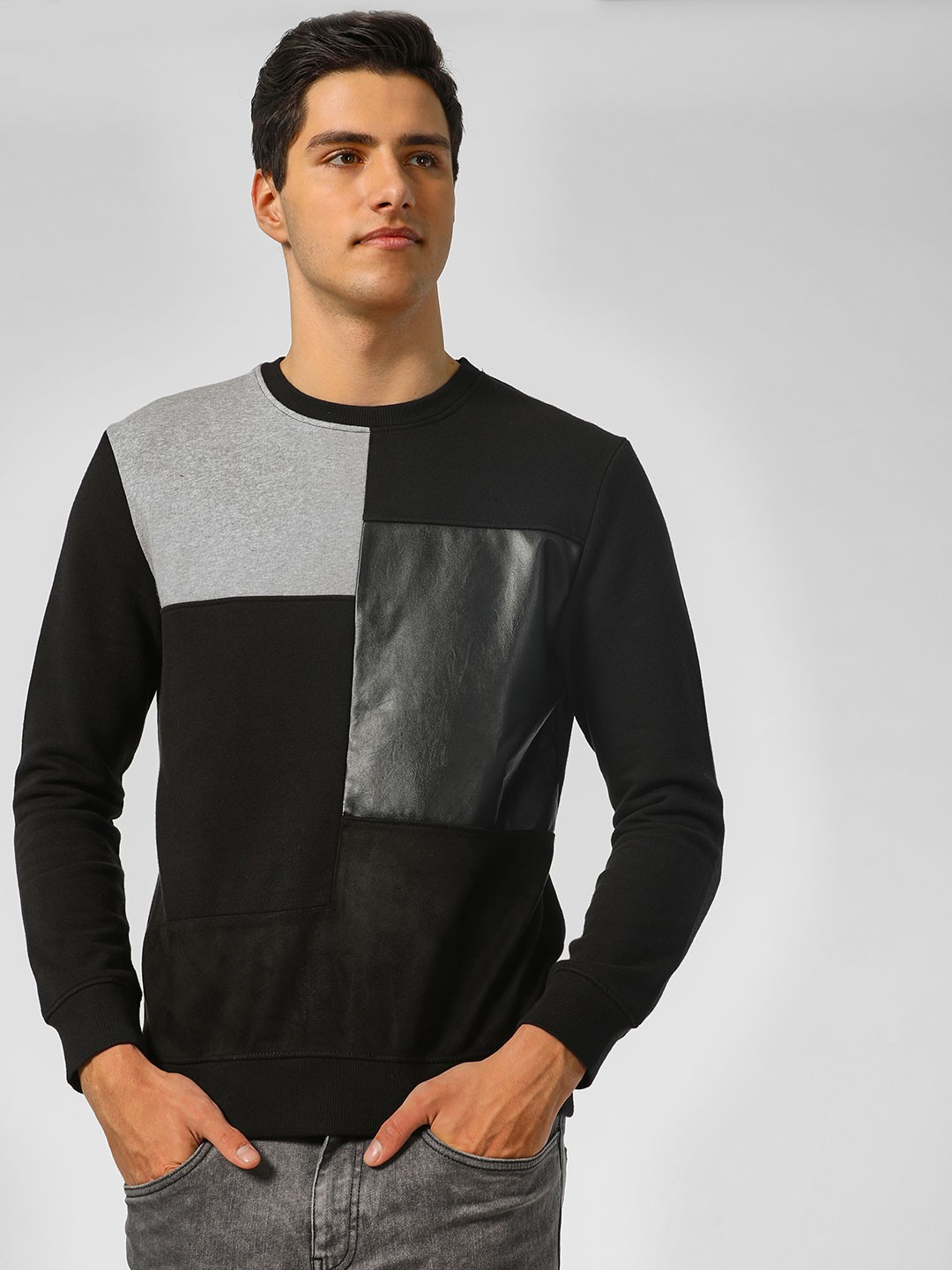 Indigo Nation Black Basic Colour Block Print Sweatshirt 1