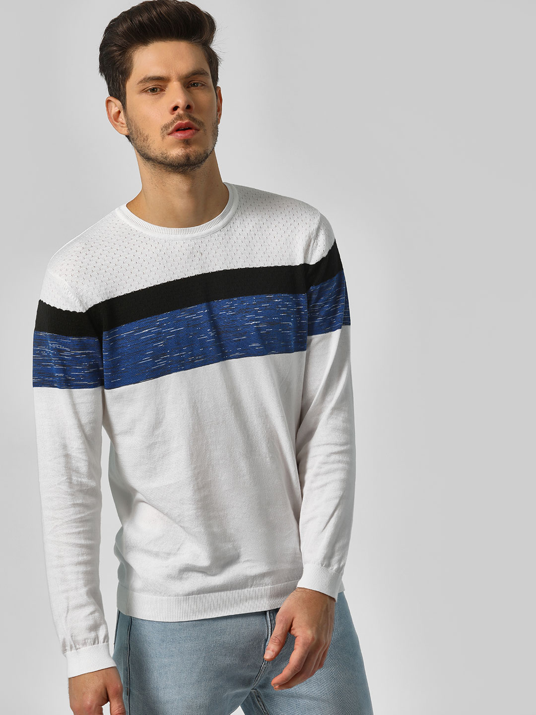 Indigo Nation White Colour Block Regular Sweatshirt 1