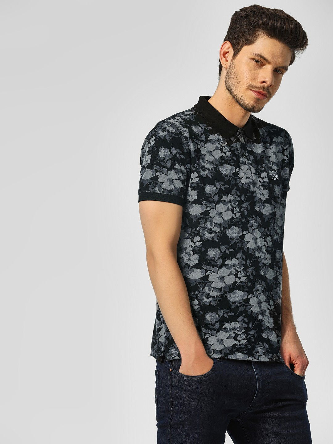 Indigo Nation Black Floral Printed Polo Shirt 1