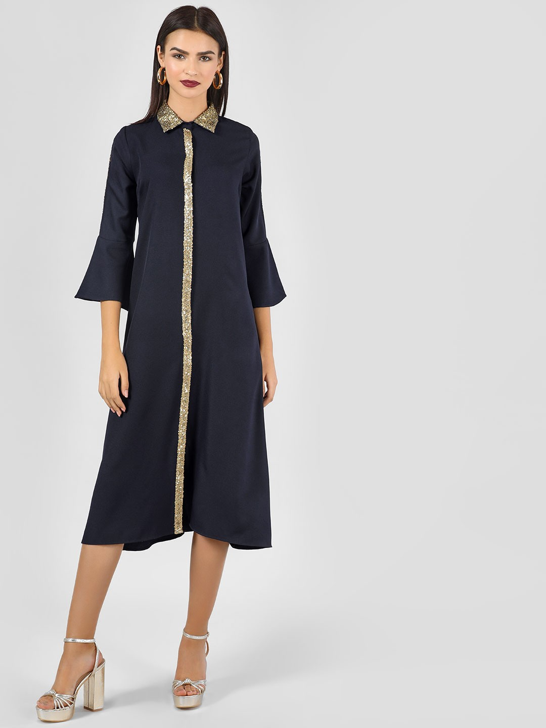 KOOVS Navy Sequinned Collared Maxi Dress 1