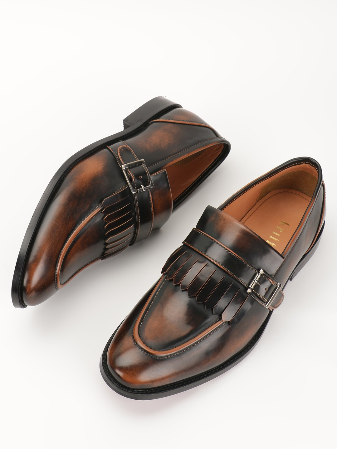 Griffin Brown Two-Tone Fringed Monk Shoes 1