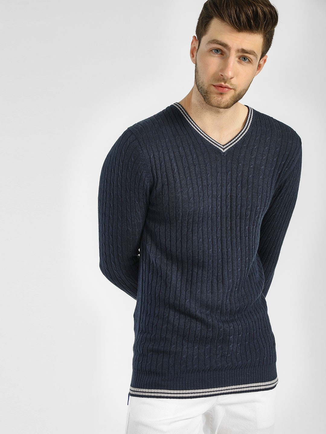 GOAT Blue V-Neck Cable Pullover 1