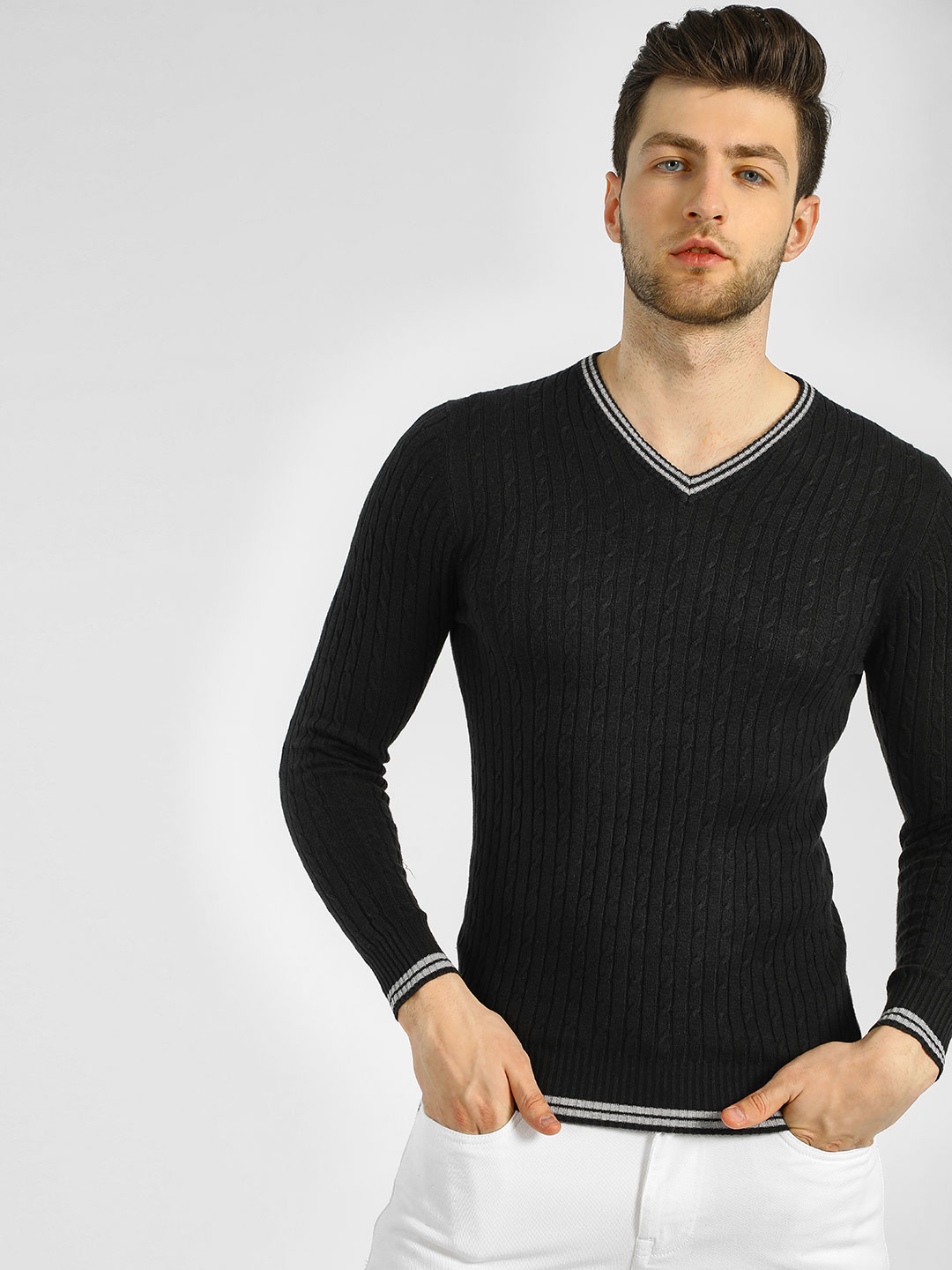 GOAT Black V-Neck Cable Pullover 1