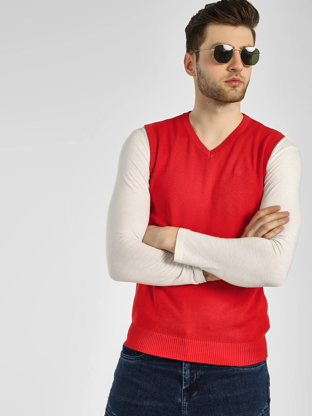 GOAT Red Sleeveless V-Neck Sweater 1