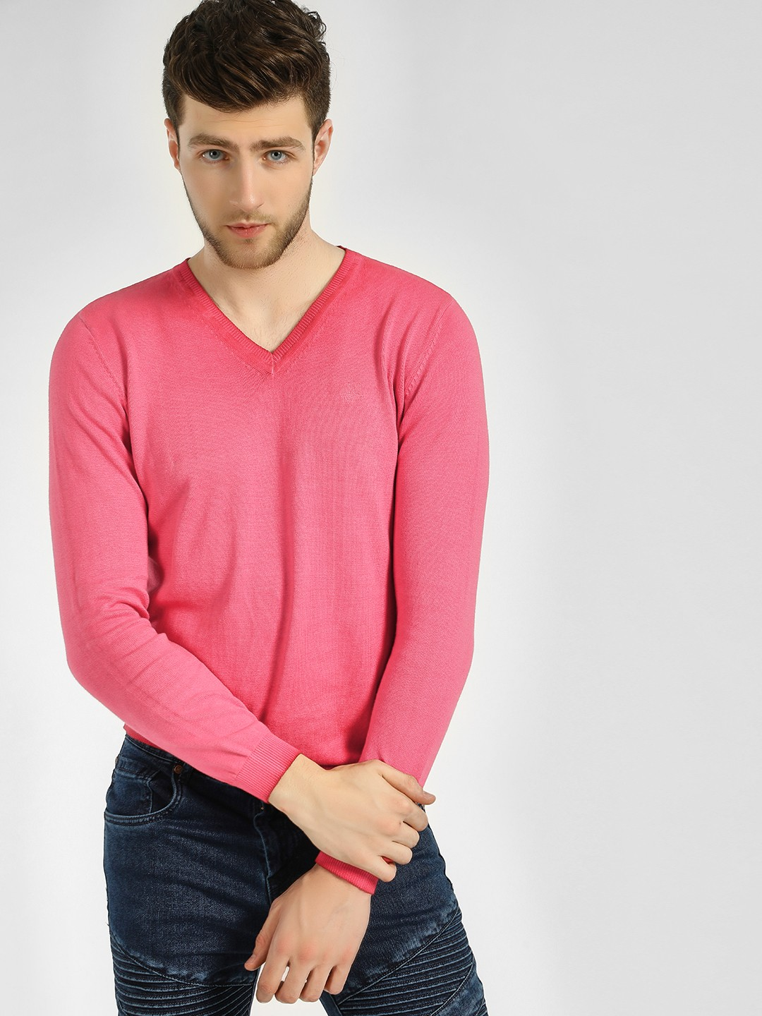GOAT Red Ombre Ribbed V-Neck Pullover 1