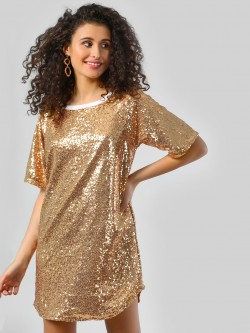 Spring Break All Over Sequins Mini Shift Dress