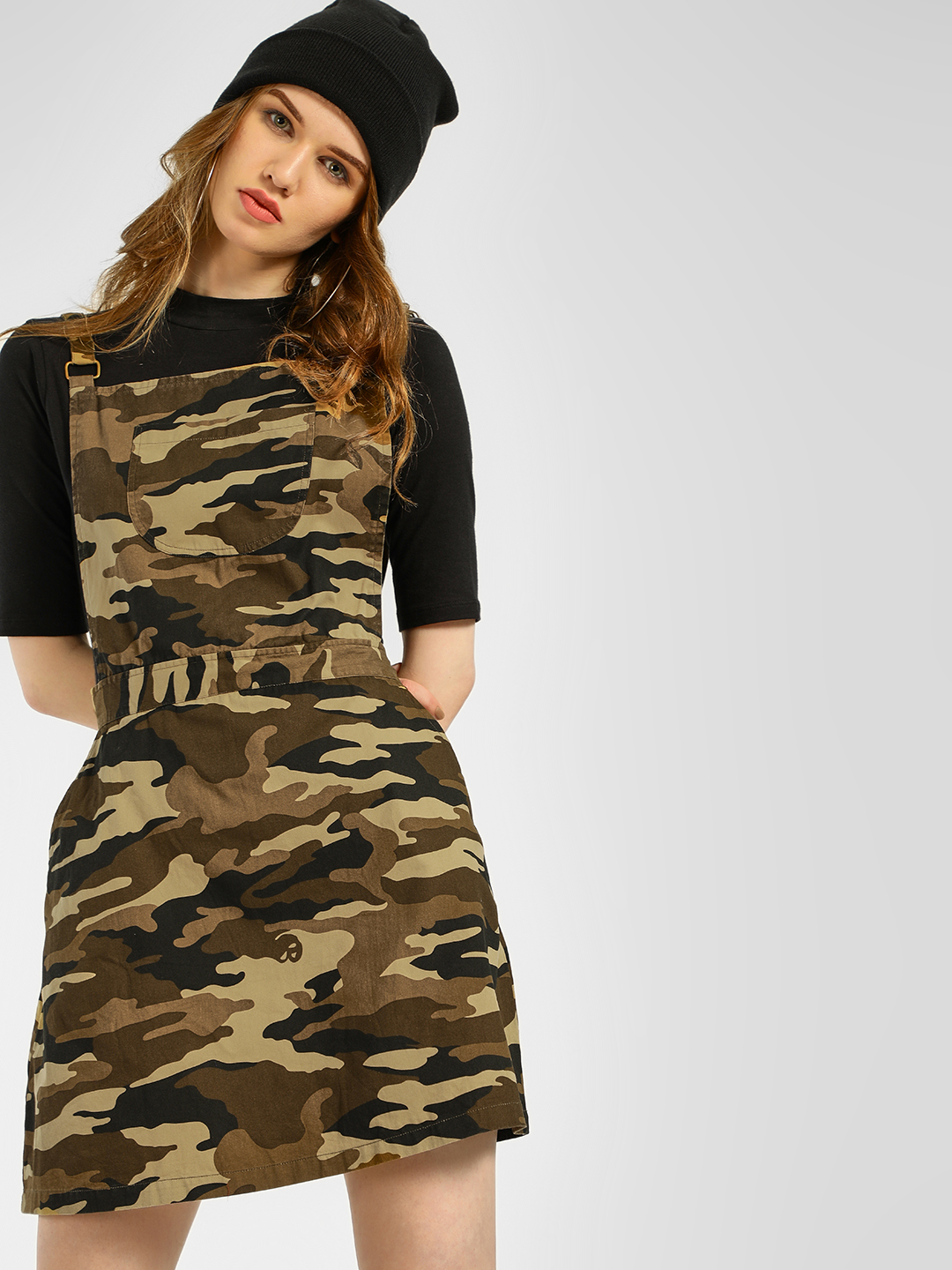 Spring Break Multi Camo Print Dungaree Dress 1