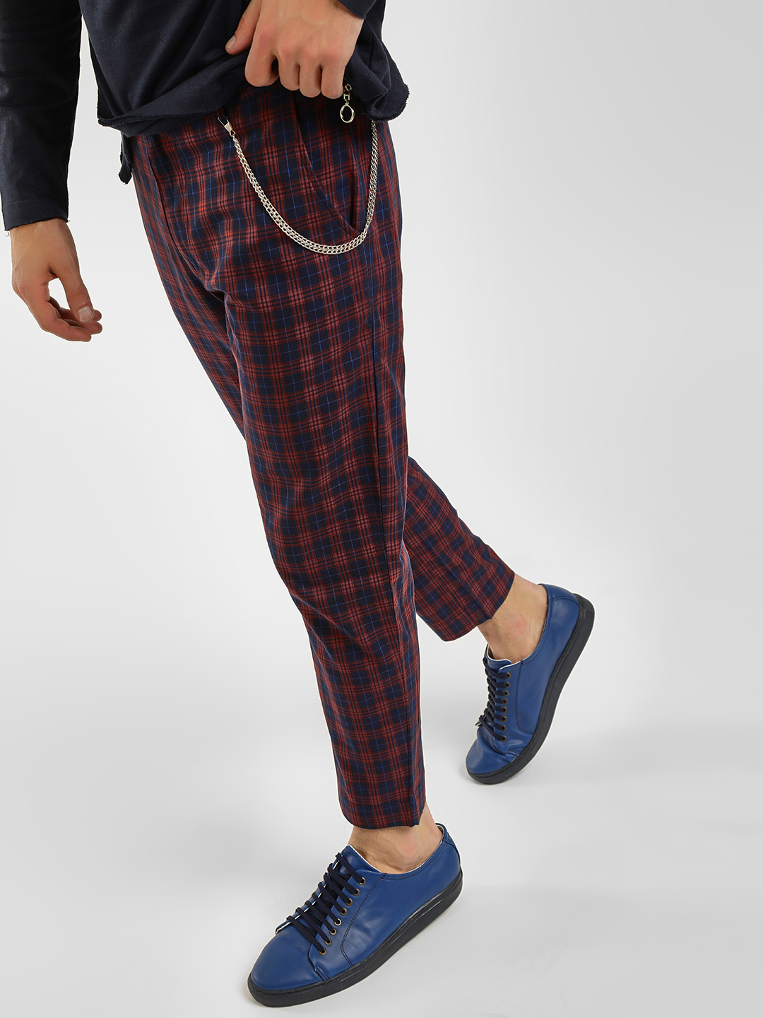 KOOVS Multi Tartan Check Tapered Chinos 1