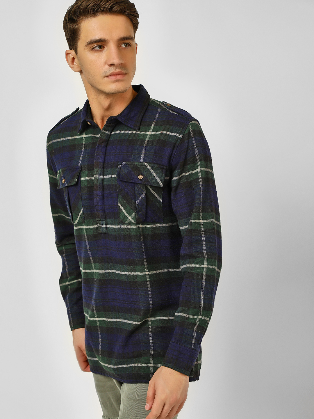 Blue Saint Multi Half Placket Checkered Shirt 1