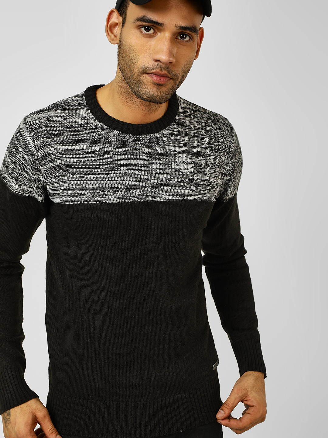 Brave Soul Black Colour Block Knitted Pullover 1