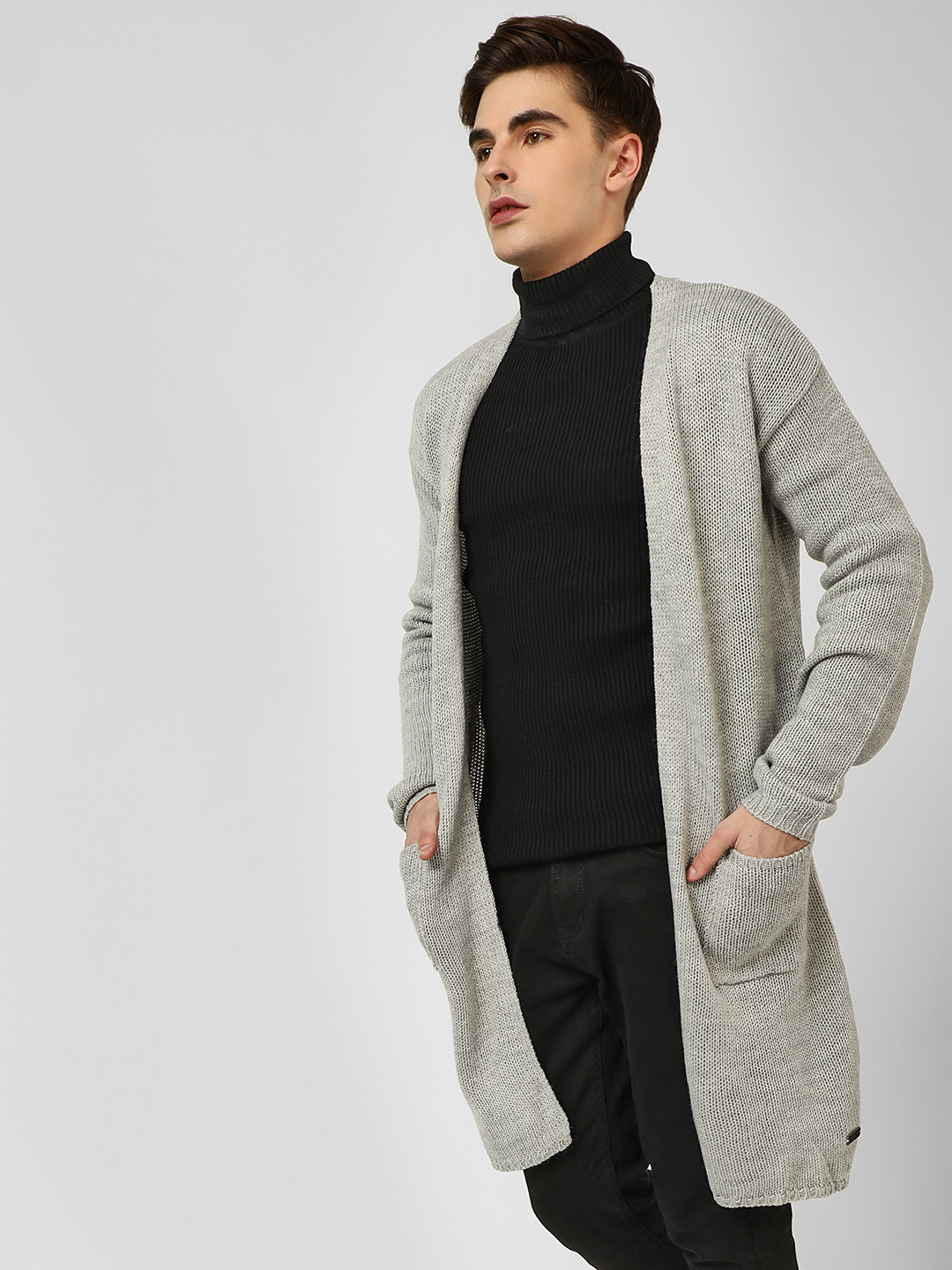 Brave Soul Grey Woven Tape Waterfall Pullover 1