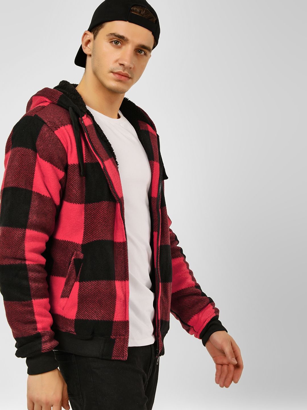 Brave Soul Red Checkered Hooded Sweat Jacket 1