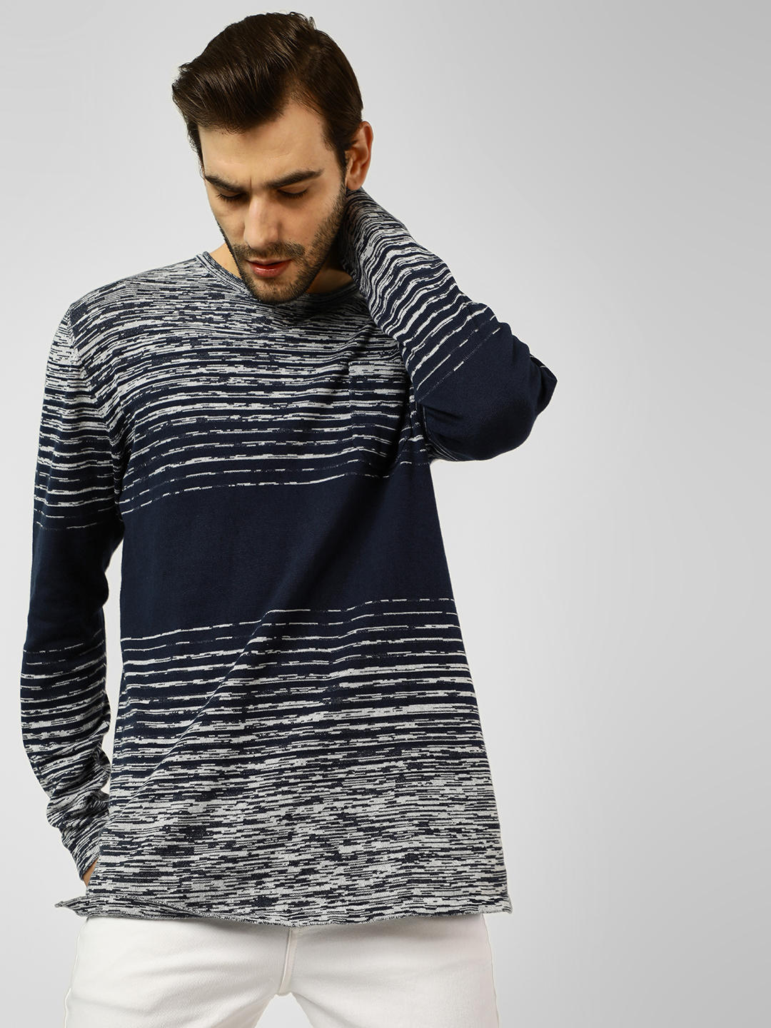 Brave Soul Navy Crew Neck Knitted Longline Pullover 1