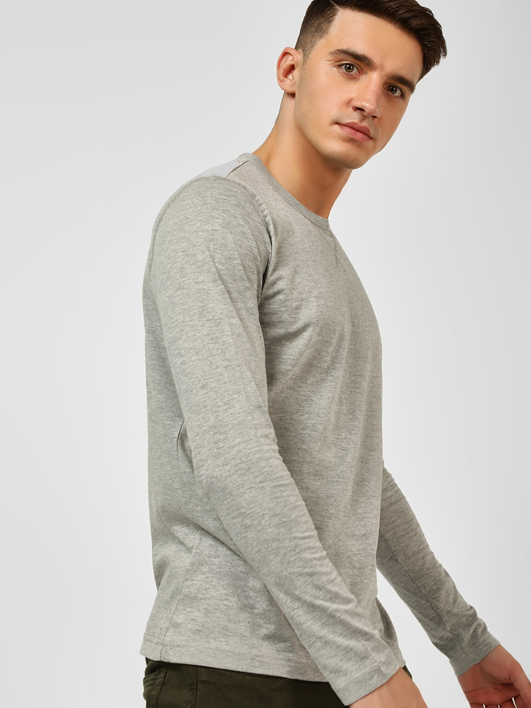 Brave Soul Grey Crew Neck Long Sleeve T-Shirt 1