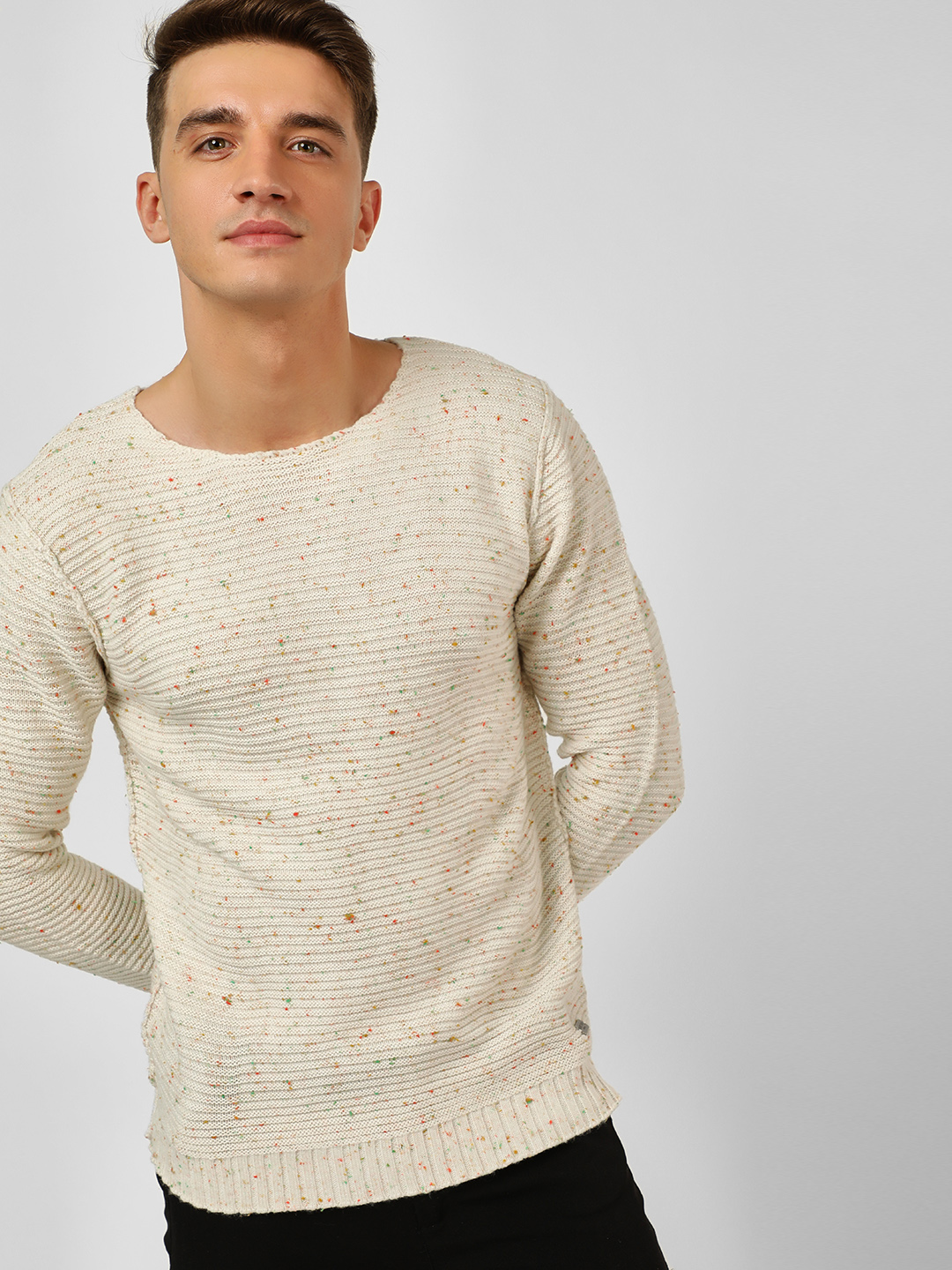 Brave Soul Off White Crew Neck Knitted Pullover 1