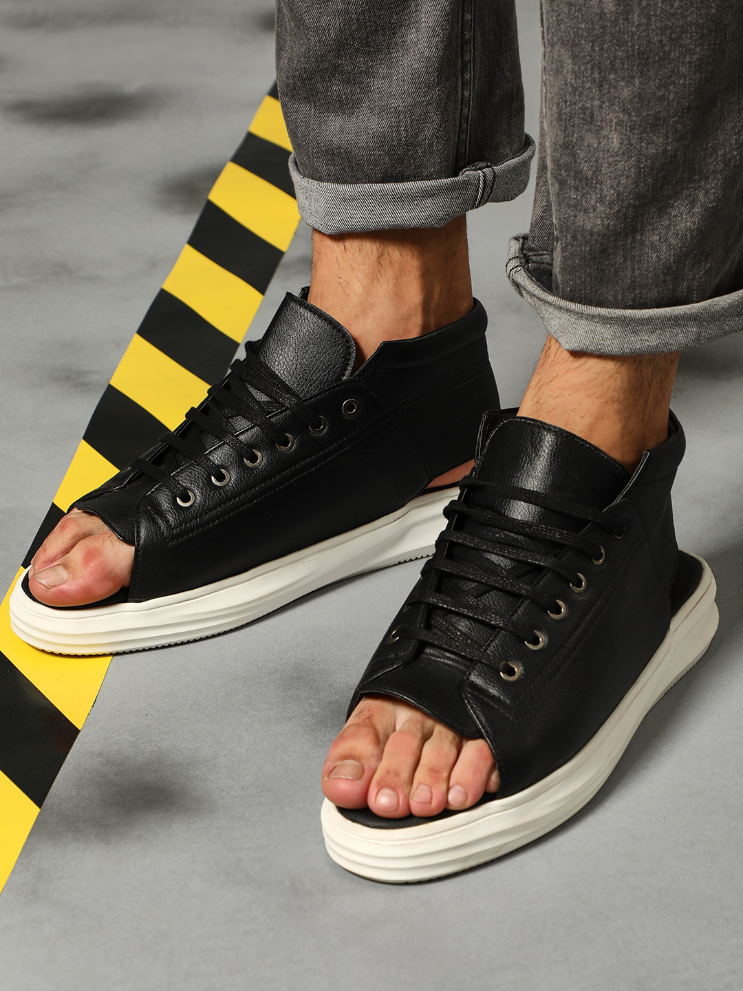 KUNAL RAWAL X KOOVS Black Open Toe Hybrid Casual Shoes 1