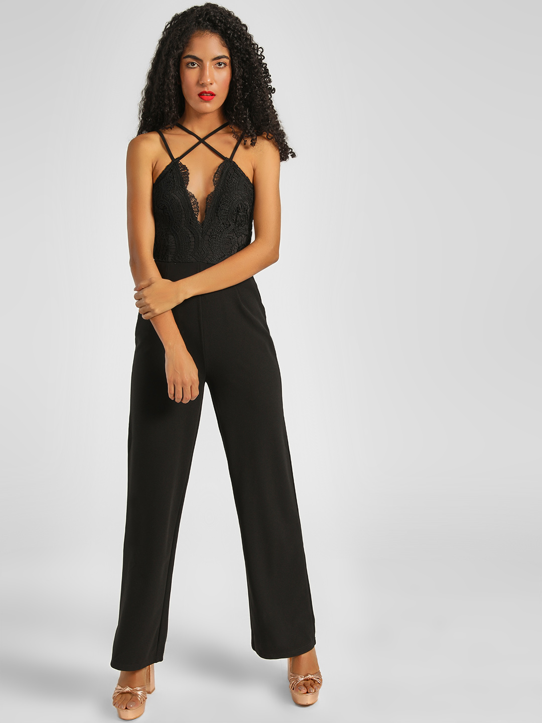 Girl in Mind Black Cross Strap Lace Top Jumpsuit 1