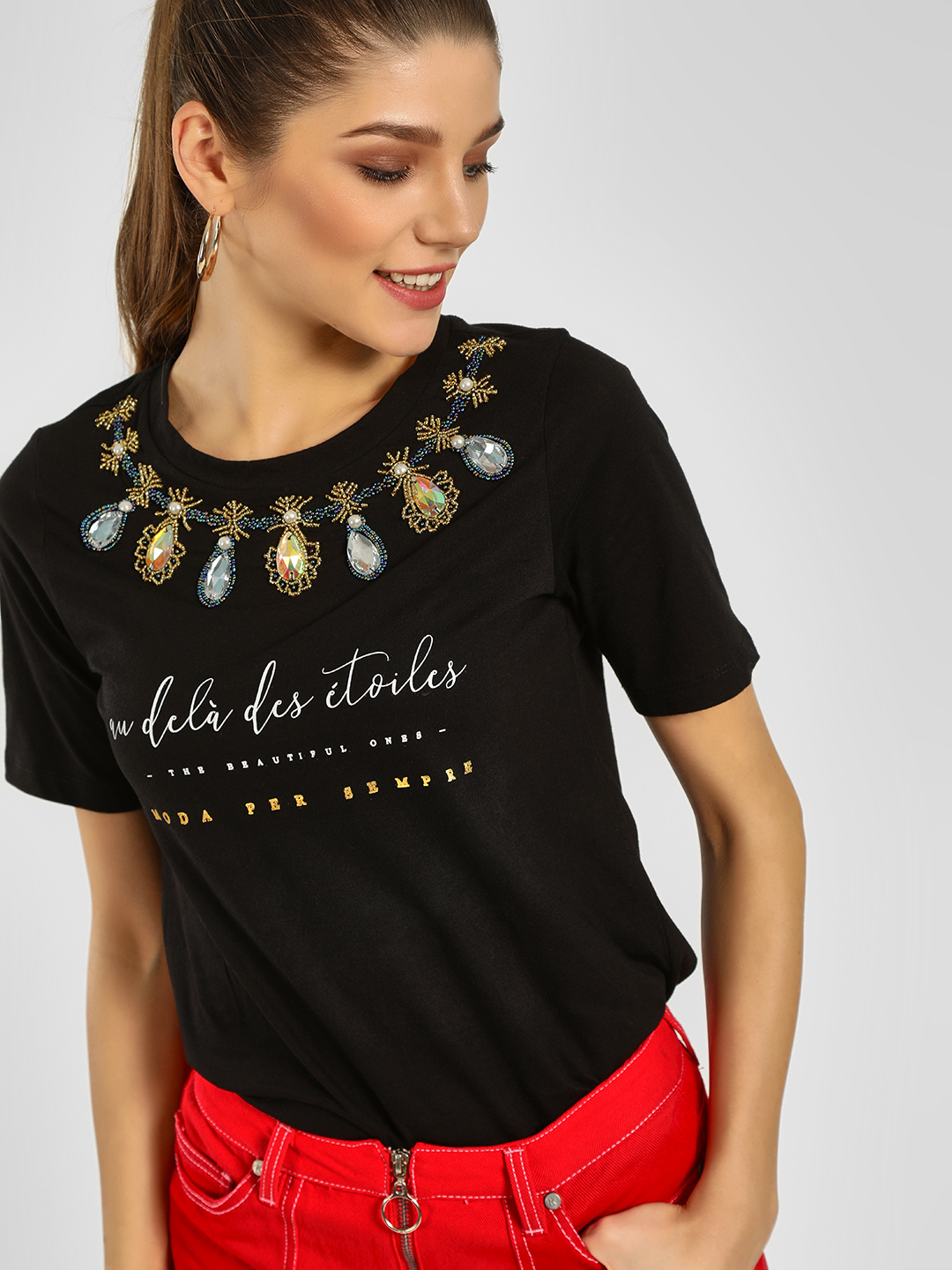 KOOVS Black Embellished Slogan Print T-Shirt 1